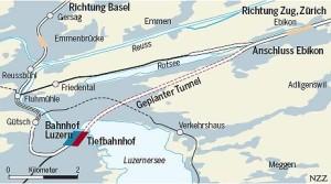 Nový tunel Durchmesserlinie Luzern - Ebikon
