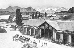 První nádraží Luzern z roku 1859